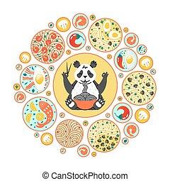o, plates., tagliatelle, composizione, manifesto, cerchio, panda, cima, piatti, giapponese, mangiare, differente, vista., cibo., cinese, bastoncini.