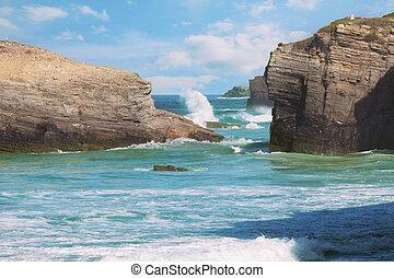 o, portugalia, ocean, złamanie, atlantycki, przybrzeżny, fale, trzęsie się