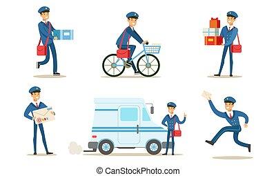 o, postino, poste, pacchetti, allegro, trasmettere, distribuire, set, vettore, postino, illustrazione