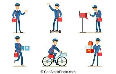 o, postino, poste, pacchetti, trasmettere, distribuire, set, vettore, postino, illustrazione