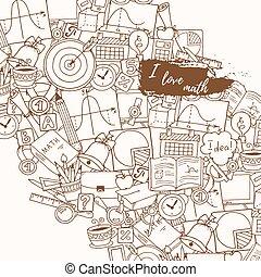 o, próbka, szkoła, theme., ręka, doodle, nauka, matematyka, pociągnięty, style., nauka