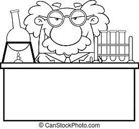 o, profesor, científico, contorneado, enojado