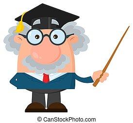 o, professore, berretto, carattere, laureato, scienziato, presa a terra, puntatore, cartone animato