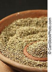 o, raro, condimento, semillas, especia, carom, ajwine, utilizado