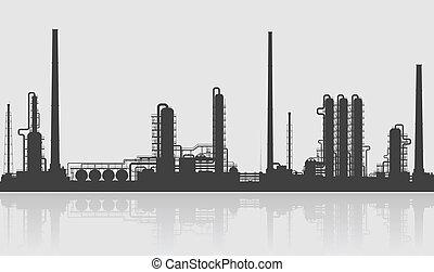 o, refinería química, planta, silhouette., aceite