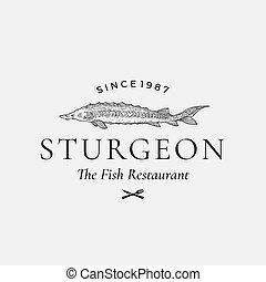 o, restaurante, señal, vendimia, pez, símbolo, emblem., ...