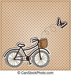 o, retro, bicicletta, farfalla, vendemmia