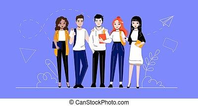 o, riuscito, studenti, cartone animato, creatività, affari, standing, insieme., concept., gruppo, persone, brainstorming, innovazione, lavoro squadra, contorno, appartamento, fila, lineare, illustrazione, adherents, vettore