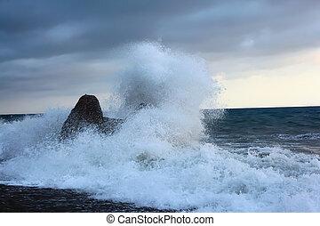 o, rozerwanie, kamień, brzeg, morze, fale
