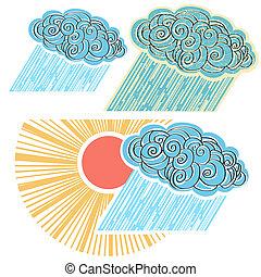 o, símbolo, aislado, lluvia, design.vector, ilustración, nube
