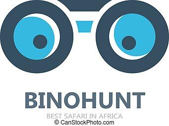 o, símbolo, logotipo, icono, vector, binocular