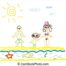 o, sandstrand, abbildung, familie