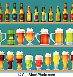 o, sbarra, alcool, su, beermug, modello, birra chiara, seamless, pub, beerhouse, scuro, birra, vettore, illustrazione, fondo, beered, festa, beerbottle, fabbrica birra, beery