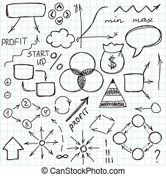 o, scarabocchiare, mano, symbols., set, vettore, schizzo, semplice, illustration., disegnato, segni