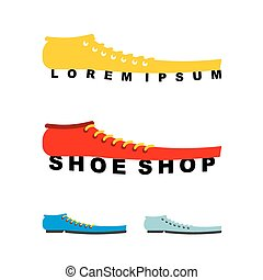 o, scarpa, lungo, logotipo, emblema, negozio, boots., production., shoes.