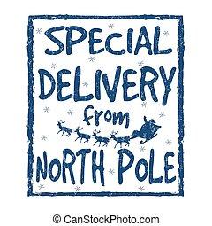 o, señal, estampilla, poste, entrega, norte, especial