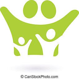 o, segno, (, isolato, icona, famiglia, verde, ), bianco