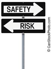 o, seguridad, riesgo