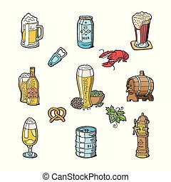 o, set, sbarra, alcool, beermug, birra chiara, isolato, illustrazione, beerhouse, scuro, birra, vettore, beerbarrel, fondo, festa, bianco, beerbottle, fabbrica birra, beery