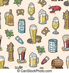 o, set, sbarra, alcool, beermug, modello, birra chiara, seamless, illustrazione, beerhouse, scuro, birra, vettore, beerbarrel, fondo, festa, beerbottle, fabbrica birra, beery
