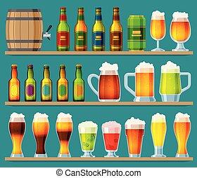 o, set, sbarra, alcool, su, beermug, birra chiara, isolato, pub, beerhouse, scuro, birra, vettore, illustrazione, fondo, beered, festa, beerbottle, fabbrica birra, beery