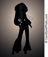 o, silhouette, ballo, impaurito, discoteca, anima, retro, ragazza, music., style.