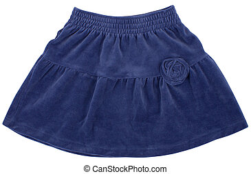 o, skirt., azul, aislado, niño, mujer, blanco