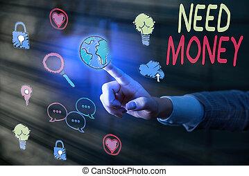 o, soldi., sostenere, richiedere, scrittura, affari, finanziario, spendere, endeavor., foto, showcasing, bisogno, nota, assistenza, esposizione