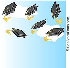 o, sombrero, gorra, graduación