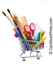 o, suministros, compras, dibujo, oficina, herramientas, carrito, escuela