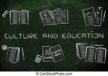 o, tekst, szkoła, różny, kultura, książki, motywy, wykształcenie