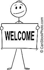 o, testo, segno benvenuto, presa a terra, uomo affari, cartone animato, uomo