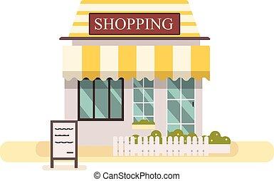 o, tienda, edificio, compras, fachada, pasto o césped, buiding, lindo, blanco, vector, store., tienda, diseño, plano, illustration., mercado, fench