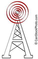 o, torre de radio, antena, señal