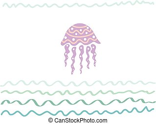 o, tuo, cartolina, jellyfish., manifesto, astratto, -, vacanza, illustrazione, viaggiare, vettore, disegno, mare, disegnato, fondo, mano, turismo, viaggio, scheda, ozio