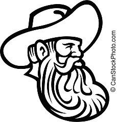 o, vaquero, mirar, granjero, cabeza, lado, orgánico, retro, lleno, mascota, negro, barba, blanco, grano