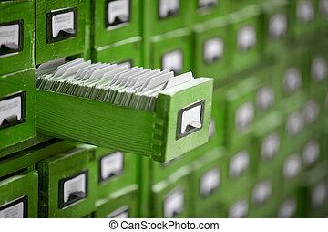 o, vecchio, aperto, riferimento, biblioteca, uno, cassetto, catalogo, archivio, scheda