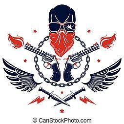 o, vettore, revolutionary., criminale, anarchia, caos, disegno, differente, emblema, cattivo, logotipo, elementi, armi, gangster, vendemmia, aggressivo, cranio, tatuaggio, scull, ribelle