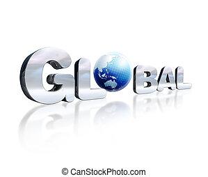 o., wort, d, beschriftung, chromed, globus weltweit, gering, 3, ort, reflektierend, perspective., erde, weißes, surface., angesehen