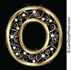 o, zlatý, litera, s, swirly, ozdoby