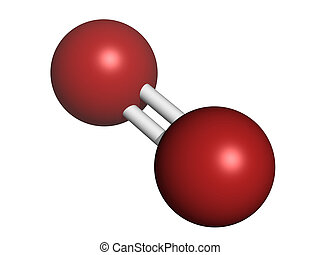 (o2), molecolare, model., ossigeno, degli elementi della natura