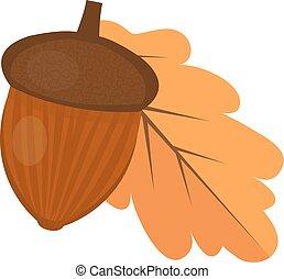 Oak acorn is flat or cartoon style. Isolated on white background. Vector illustration.