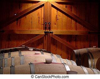 Oak and Cedar - Oak wine barrels in front of Cedar doors. A...