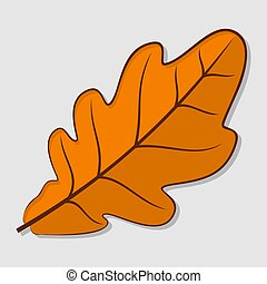 Oak autumn leaf. Flat design Vector illustration