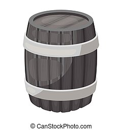 Oak barrel beer. A barrel in which beer is brewed. Pub single icon in monochrome style vector symbol stock illustration.