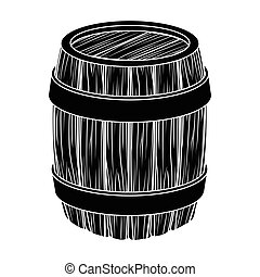 Oak barrel beer. A barrel in which beer is brewed. Pub single icon in black style vector symbol stock illustration.