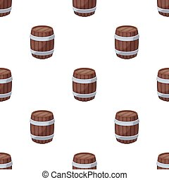 Oak barrel beer. A barrel in which beer is brewed. Pub pattern icon in cartoon style vector symbol stock illustration.
