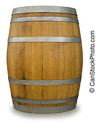 Oak Barrel isolated on white with a clipping path