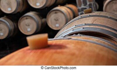 Oak Barrels In Wine vault
