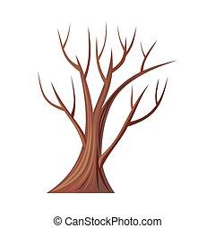 oak., boompje, leaves., zonder, vector, blote